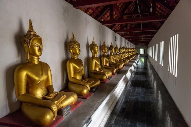 Belo buda dourado muitas estátuas em wat phra si rattana mahathat em phitsanulok