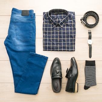 Belo casual moda masculina e roupas conjunto