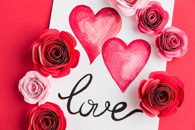 Belo conceito de dia dos namorados com rosas