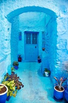 Belo conjunto diversificado de portas azuis da cidade azul