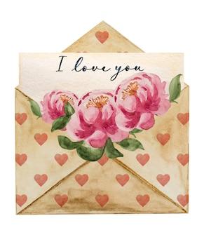 Belo desenho em aquarela de um envelope de correio.