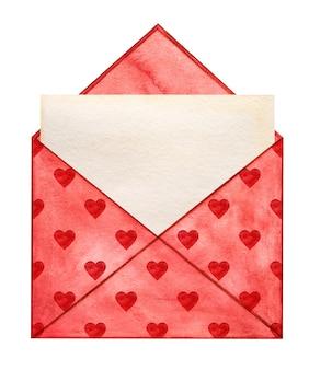 Belo desenho em aquarela de um envelope postal e corações.