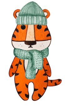 Belo desenho em aquarela de um pequeno filhote de tigre. preparando-se para as férias. close, sem pessoas. parabéns para entes queridos, parentes, amigos e colegas