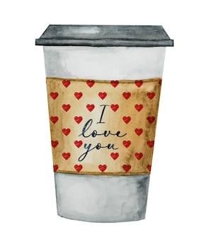 Belo desenho em aquarela de uma xícara de café.