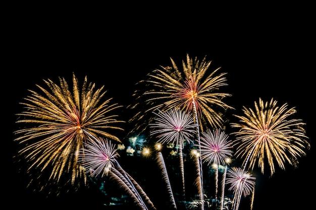 Belo fogo de artifício colorido exibir à noite para comemorar