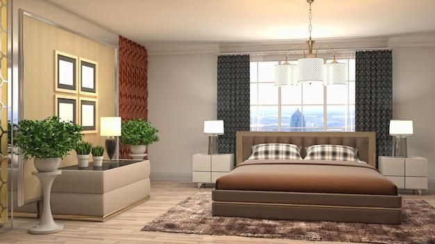 Belo interior do quarto em ilustração de renderização 3d