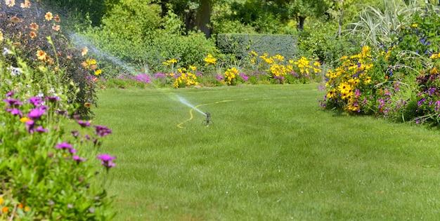 Belo jardim paisagístico rega no verão
