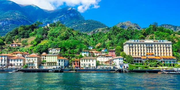 Belo lago lago di como, cidade de tremezzina. norte da itália