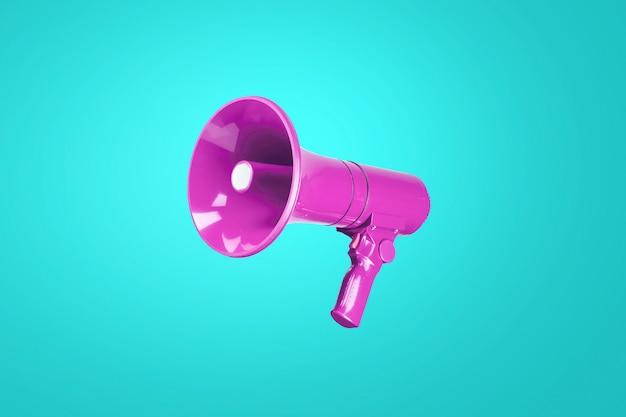 Belo megafone rosa colorido em uma parede azul fria. uma combinação de cores complementares. publicidade e conceito de mensagem