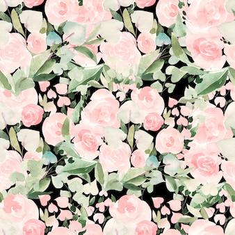 Belo padrão de aquarela brilhante com rosas e folhas. ilustração