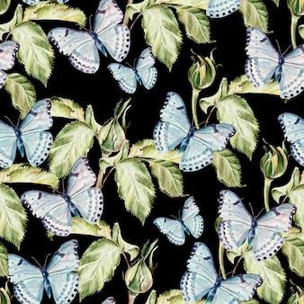 Belo padrão de aquarela com borboletas e plantas. ilustração