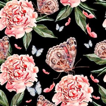 Belo padrão de aquarela com flores de peônia, borboletas e plantas. ilustração