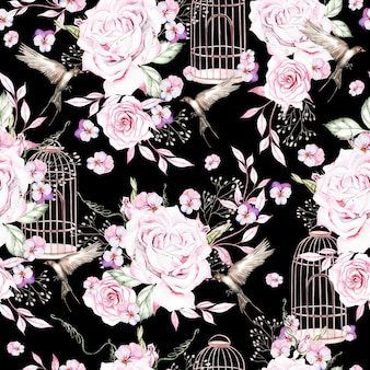 Belo padrão de aquarela com pássaros e flores e ilustração em gaiola de pássaros