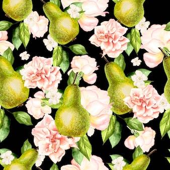 Belo padrão de aquarela com peras e flores de rosas e peônias.