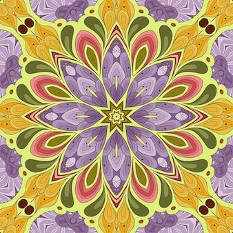 Belo padrão de flores, ilustração de flores, ladrilhos geométricos em tons de rosa verde-amarelo, fundo floral