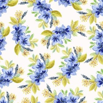 Belo padrão sem emenda com flores azuis aquarela desenhadas à mão, buquês de folhas verdes e amarelas