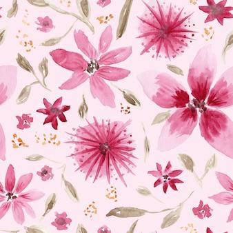Belo padrão sem emenda com uma confusão de flores rosa aquarela desenhadas à mão e folhas marrons sobre fundo coral macio