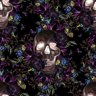 Belo padrão sem emenda em aquarela com caveira e flores de peônia e rosas. ilustração