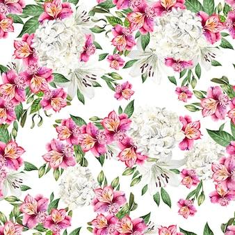 Belo padrão sem emenda em aquarela com flores de alstroemeria, hudrangea e lírio. ilustração
