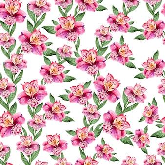 Belo padrão sem emenda em aquarela com flores de alstroemeria. ilustração