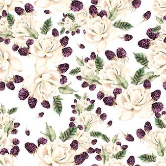 Belo padrão sem emenda em aquarela com flores de rosa e baga. ilustração