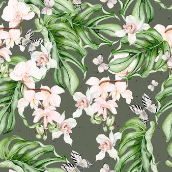 Belo padrão sem emenda em aquarela com folhas tropicais, flores de orquídeas e borboleta. ilustração