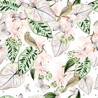 Belo padrão sem emenda em aquarela com folhas tropicais, flores de orquídeas, pássaros e borboletas. ilustração