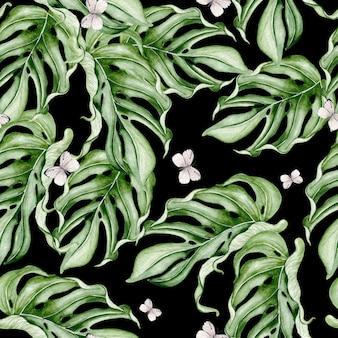 Belo padrão sem emenda em aquarela com folhas tropicais. ilustração