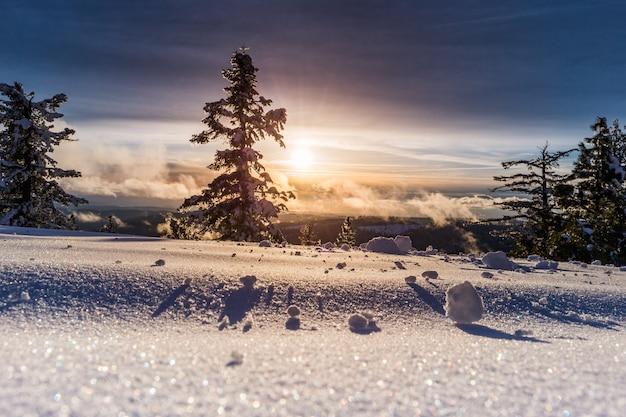 Belo pôr do sol e um campo nevado