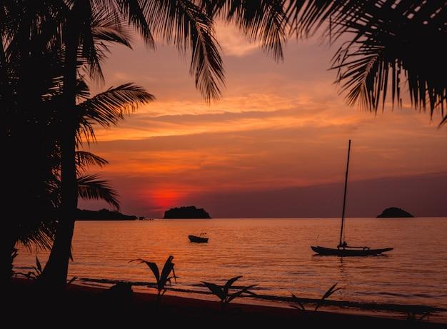 Belo pôr do sol na praia nos trópicos. céu e oceano