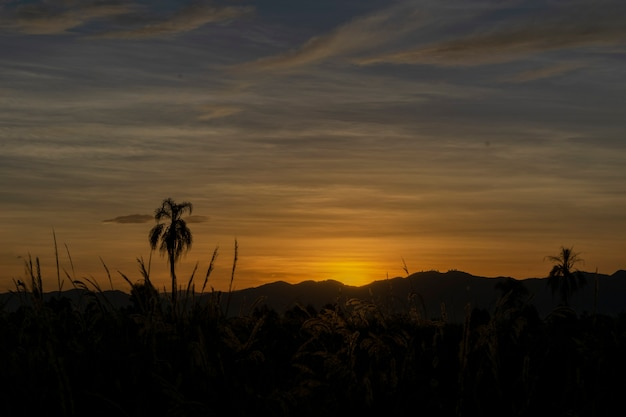 Belo pôr do sol no horizonte da montanha