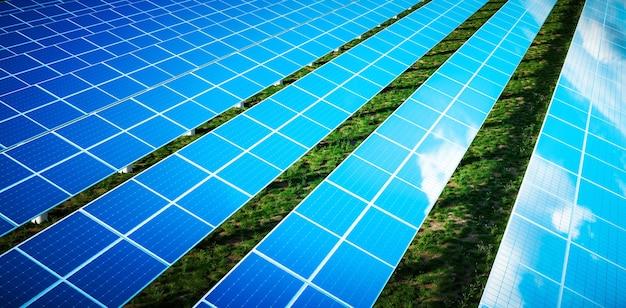 Belo reflexo de nuvens em células solares azuis de uma grande fazenda solar em uma luz quente de fim de tarde com grama verde fresca sob os painéis. renderização 3d.