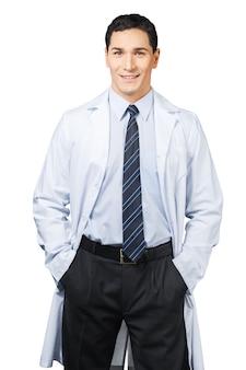 Belo retrato de médico em fundo branco