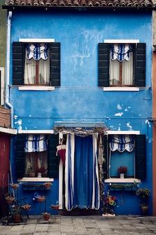 Belo tiro simétrico vertical de um edifício suburbano azul com plantas em vasos