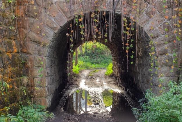 Belo túnel antigo de pedra de perto