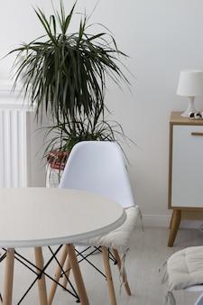 Belos móveis de interior e paredes brancas