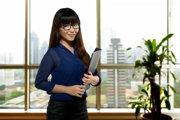 Bem sucedida, asiático, negócio, pessoa
