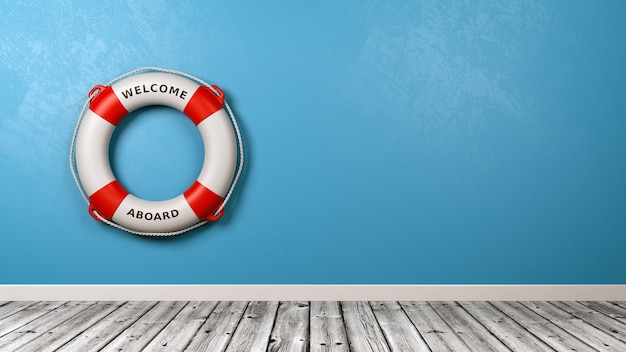Bem-vindo a bordo do lifebuoy against the wall