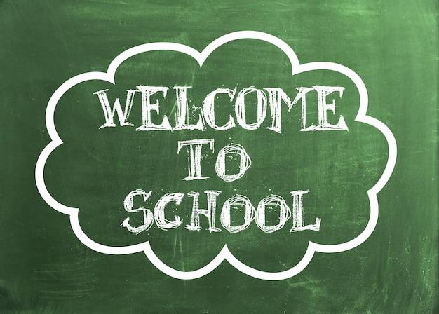 Bem-vindo ao texto da escola no quadro verde