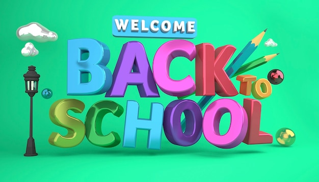 Bem-vindo de volta aos itens de educação coloridos do banner da escola e espaço para texto em uma renderização 3d de fundo.