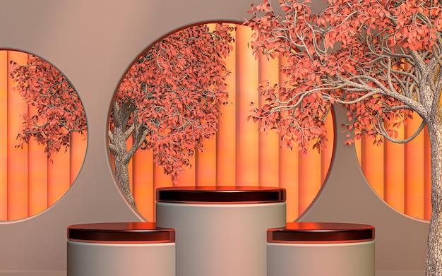 Bem-vindo primavera produto especial palco pódio fundo renderização em 3d