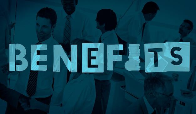 Benefícios vantagens asseguram conceito de salários em bônus Foto gratuita
