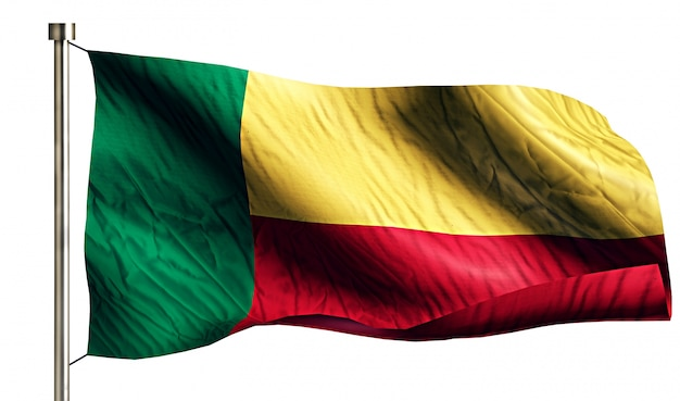 Benin national flag isolated 3d fundo branco