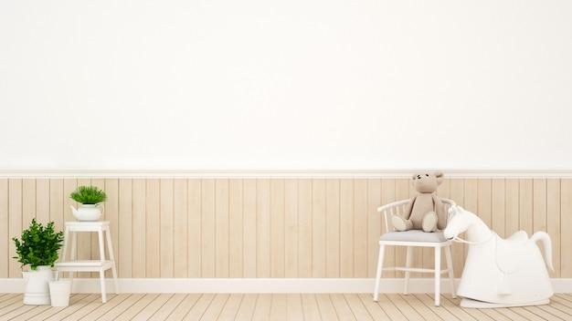 Berçário de quarto de criança ou em casa, renderização em 3d interior