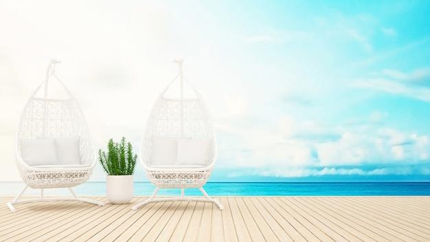Berço de rattan branco e planta no terraço vista para o mar - renderização 3d