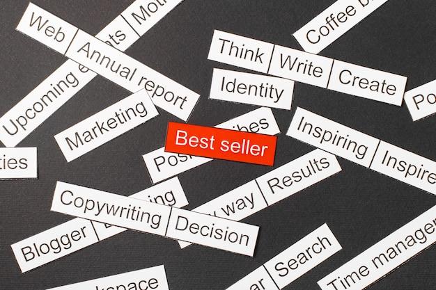 Best-seller de inscrição de papel cortado em um fundo vermelho