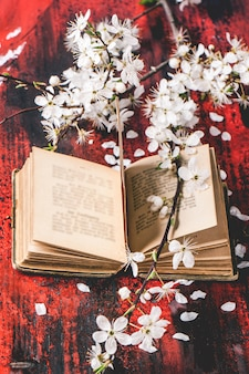 Bíblia vintage com ramo de flor
