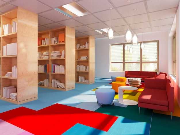 Biblioteca colorida em escola estilo kitch