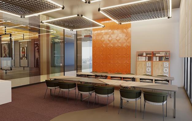 Biblioteca com design de parede, mesa de estudo de design de teto e cadeiras, grátis