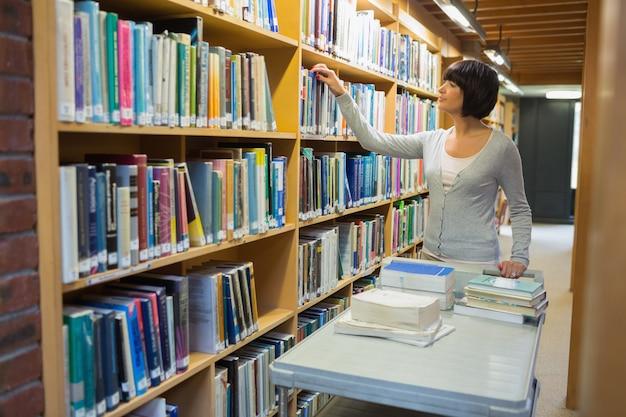 Bibliotecário devolvendo livros